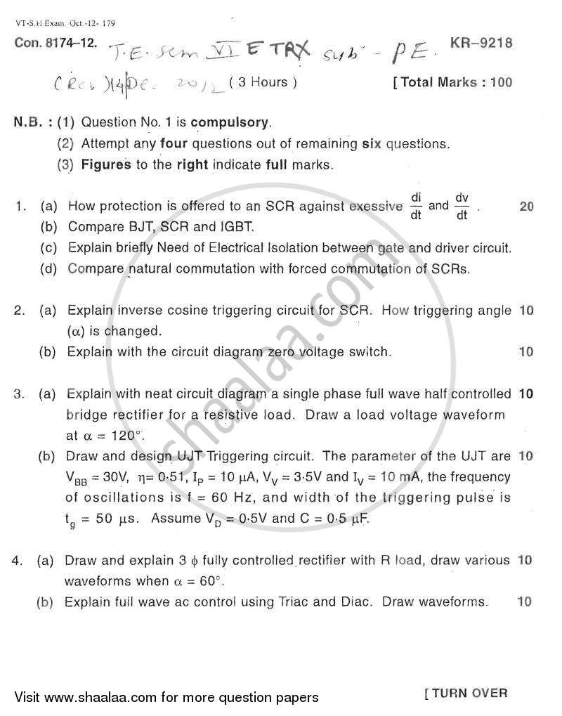 Question Paper - Power Electronics 2012 - 2013 - B.E. - Semester 6 (TE Third Year) - University of Mumbai