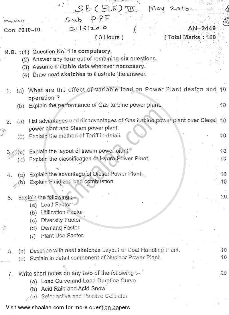 Question Paper - Power Plant Engineering 2009 - 2010 - B.E. - Semester 3 (SE Second Year) - University of Mumbai