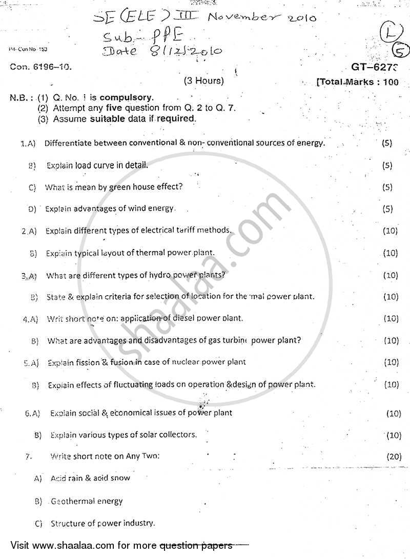 Question Paper Power Plant Engineering 2010 2011 Be Electrical Layout Semester 3 Se