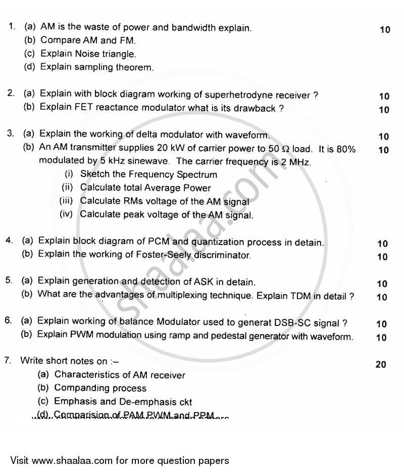 Question Paper - Principles of Analog and Digital Communication 2011 - 2012 - B.E. - Semester 3 (SE Second Year) - University of Mumbai