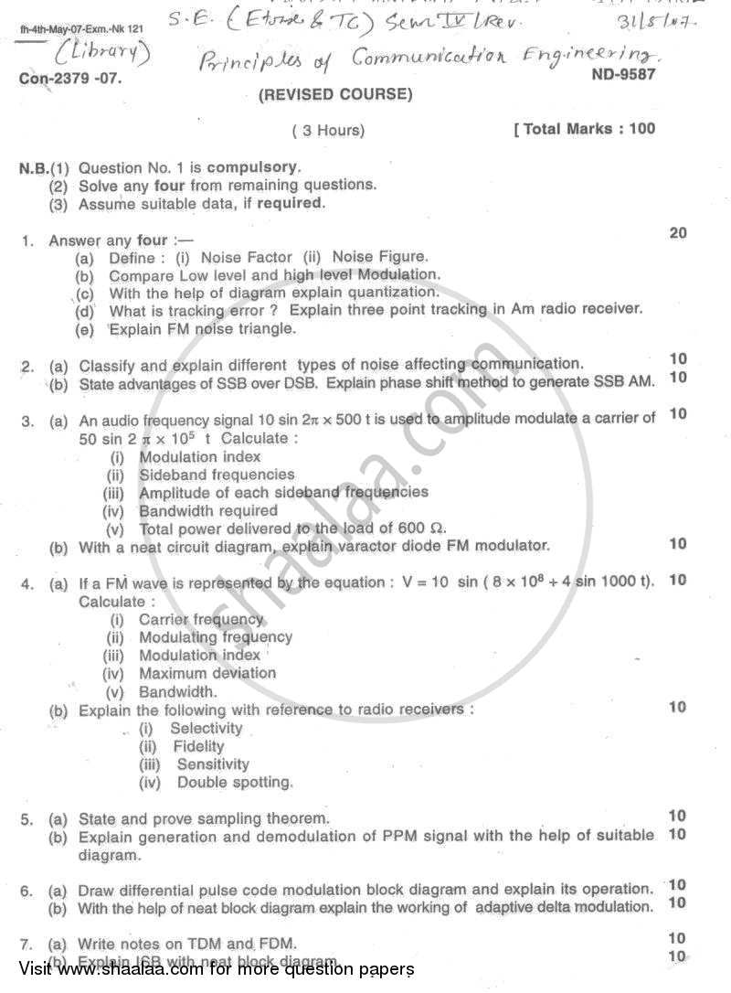 Question Paper - Principles of Communication Engineering 2006 - 2007 - B.E. - Semester 4 (SE Second Year) - University of Mumbai