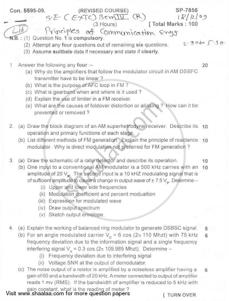 Question Paper - Principles of Communication Engineering 2009 - 2010 - B.E. - Semester 4 (SE Second Year) - University of Mumbai
