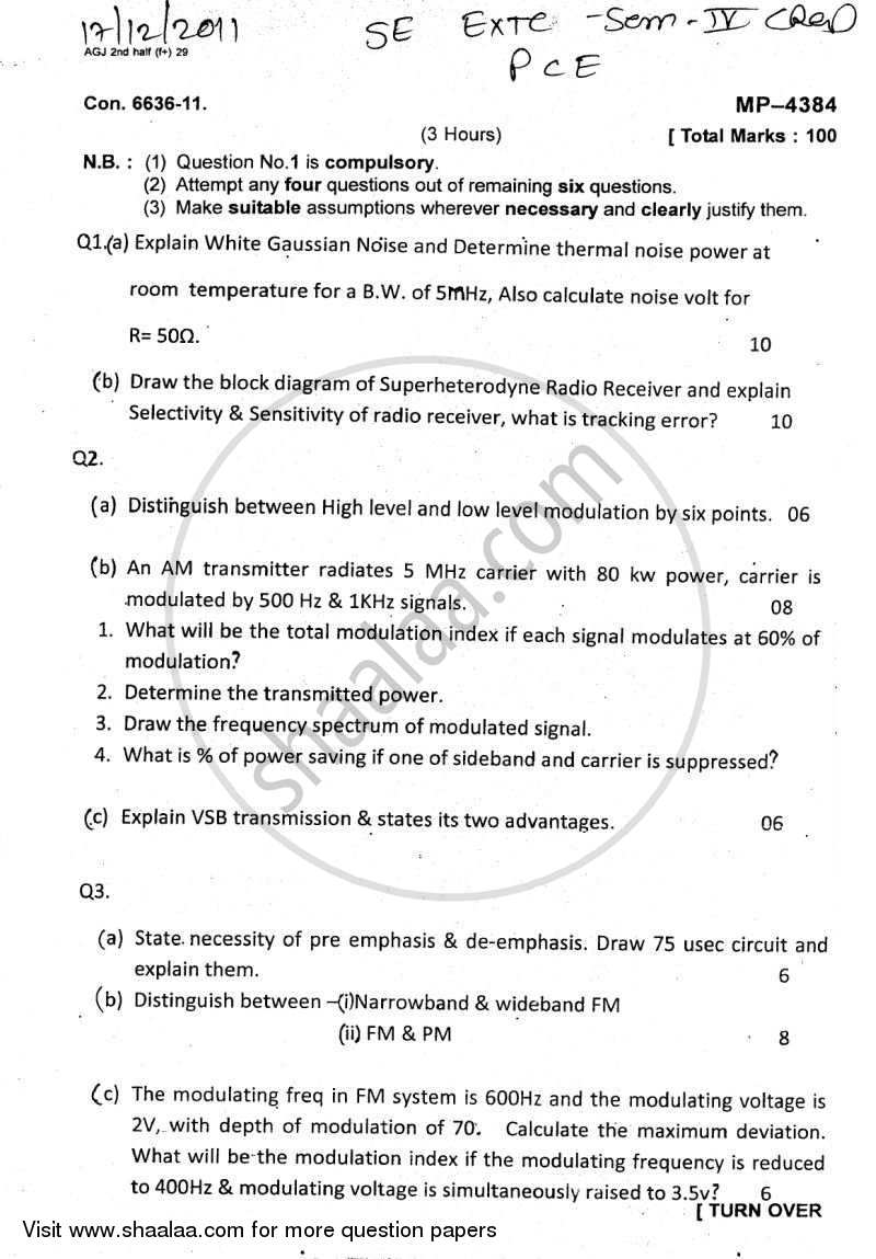 Question Paper - Principles of Communication Engineering 2011 - 2012 - B.E. - Semester 4 (SE Second Year) - University of Mumbai