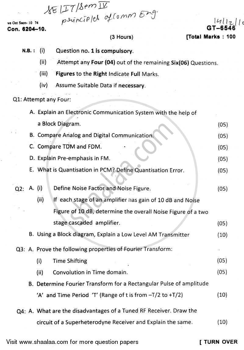 Question Paper - Principles of Communication Engineering 2010 - 2011 - B.E. - Semester 4 (SE Second Year) - University of Mumbai