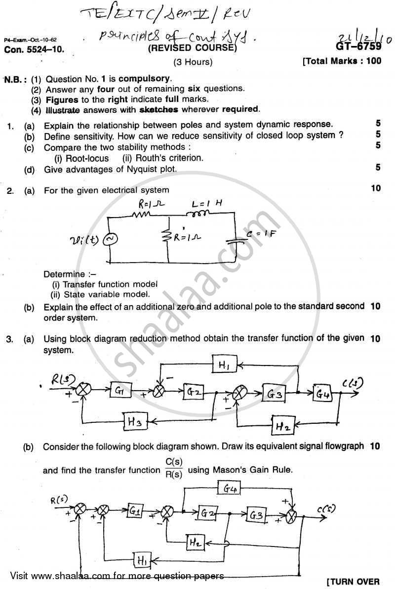 Question Paper - Principles of Control Systems 2010 - 2011 - B.E. - Semester 5 (TE Third Year) - University of Mumbai