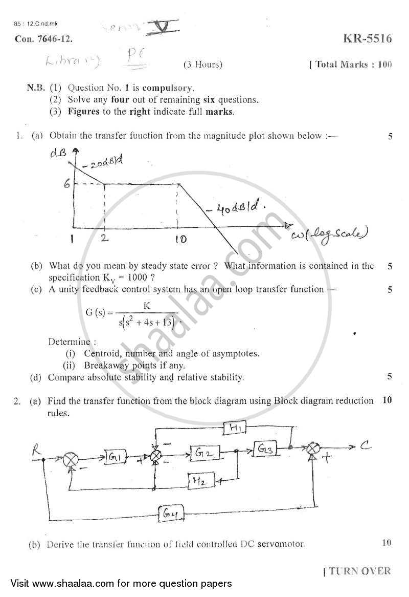 Question Paper - Principles of Control Systems 2012 - 2013 - B.E. - Semester 5 (TE Third Year) - University of Mumbai
