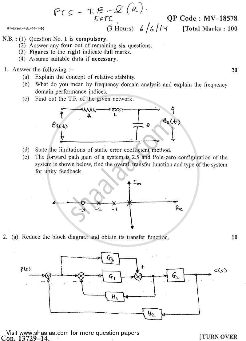 Question Paper - Principles of Control Systems 2013 - 2014 - B.E. - Semester 5 (TE Third Year) - University of Mumbai