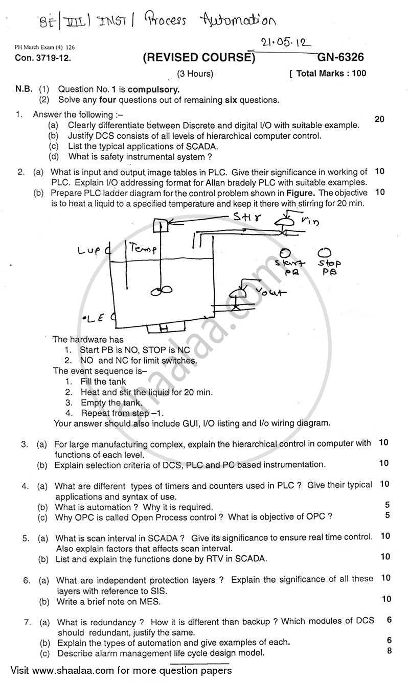Question Paper - Process Automation 2011 - 2012 - B.E. - Semester 7 (BE Fourth Year) - University of Mumbai