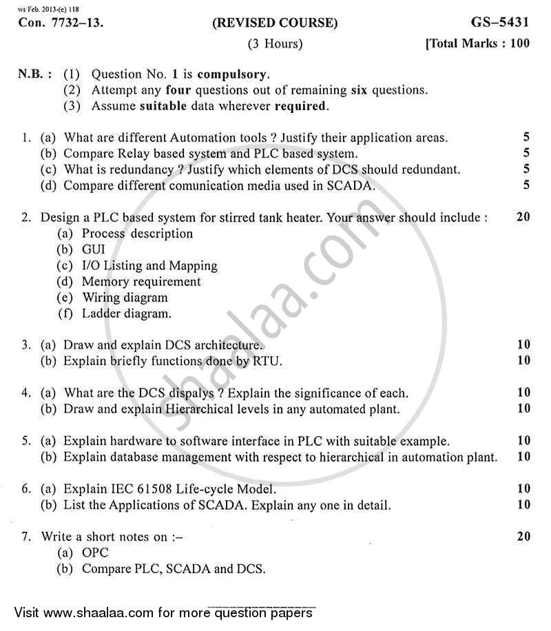 Question Paper - Process Automation 2012 - 2013 - B.E. - Semester 7 (BE Fourth Year) - University of Mumbai