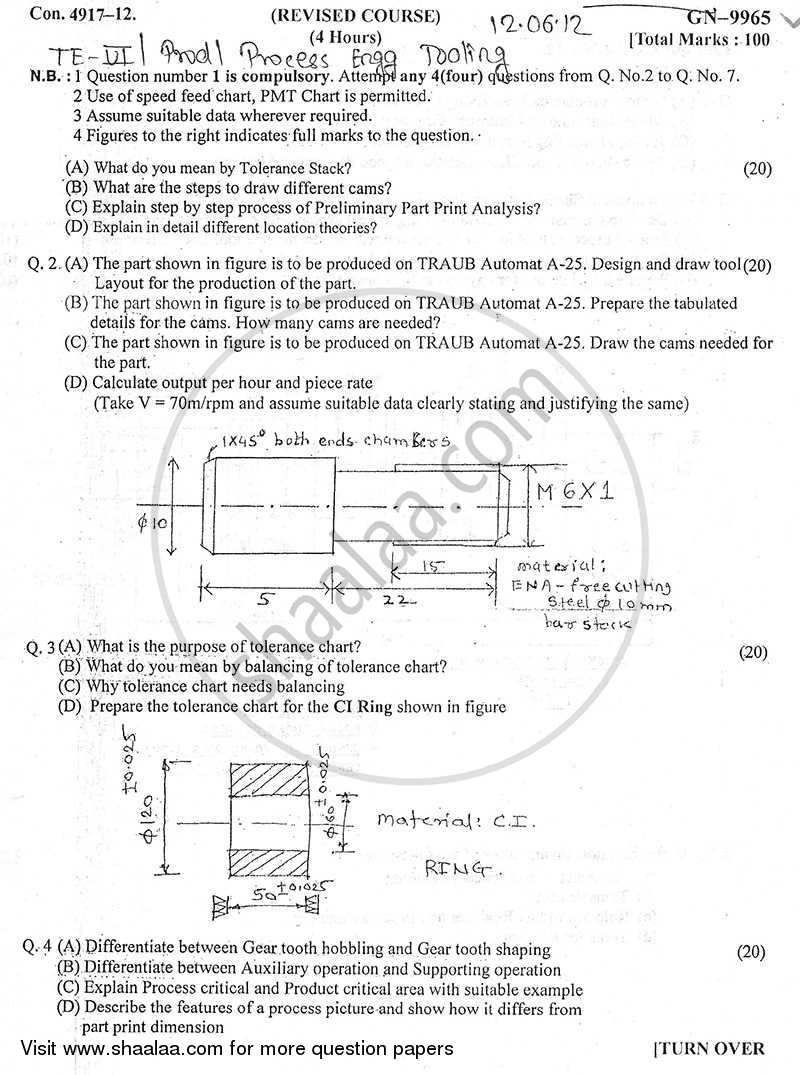 Process Engineering and Tooling 2011-2012 - B.E. - Semester 6 (TE Third Year) - University of Mumbai question paper with PDF download