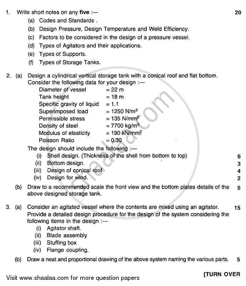 Question Paper - Process Equipment Design and Drawing 2011 - 2012 - B.E. - Semester 5 (TE Third Year) - University of Mumbai