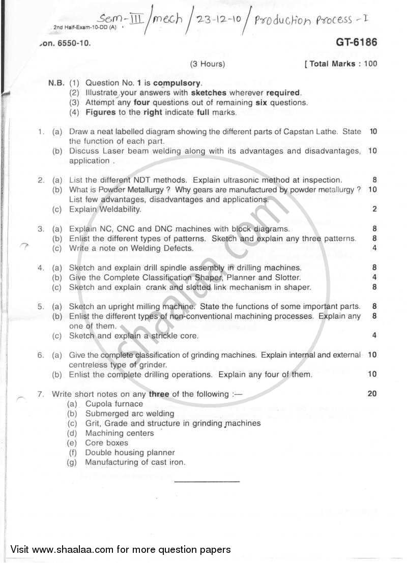 Question Paper Production Process 1 2010 2011 Be Mechanical Welding Machine Block Diagram Semester 3 Se