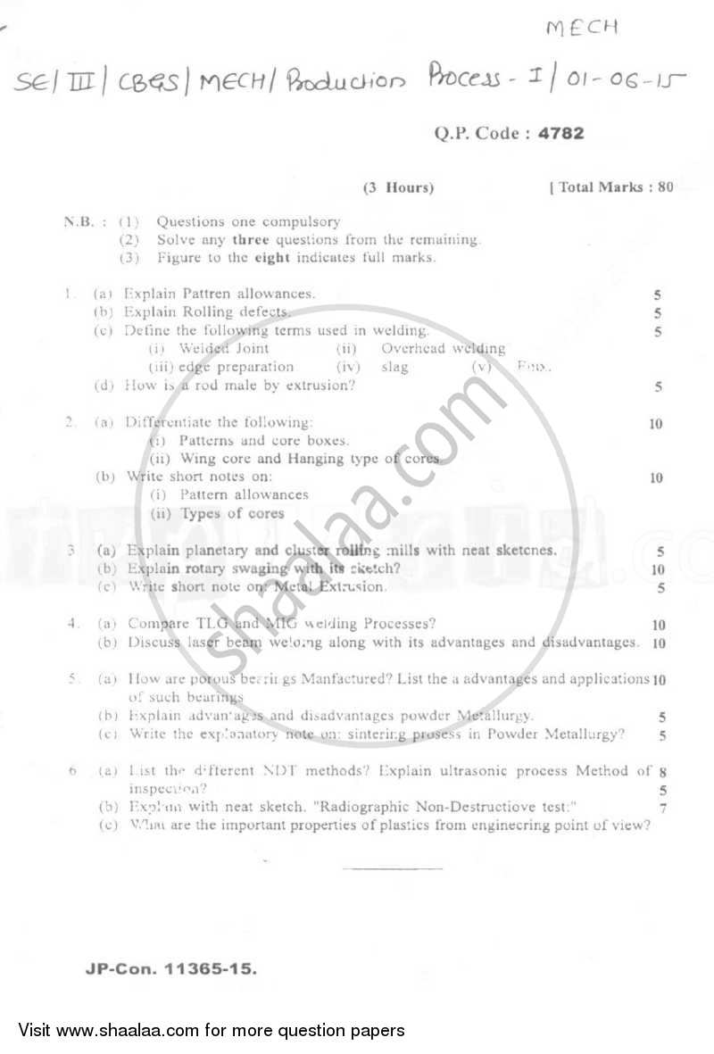 Question Paper - Production Process 1 2014 - 2015 - B.E. - Semester 3 (SE Second Year) - University of Mumbai