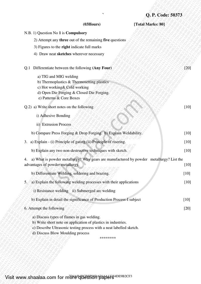 Question Paper - BE Mechanical Engineering Semester 3 (SE
