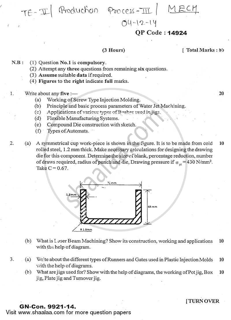 Question Paper - Production Process 3 2014 - 2015 - B.E. - Semester 5 (TE Third Year) - University of Mumbai