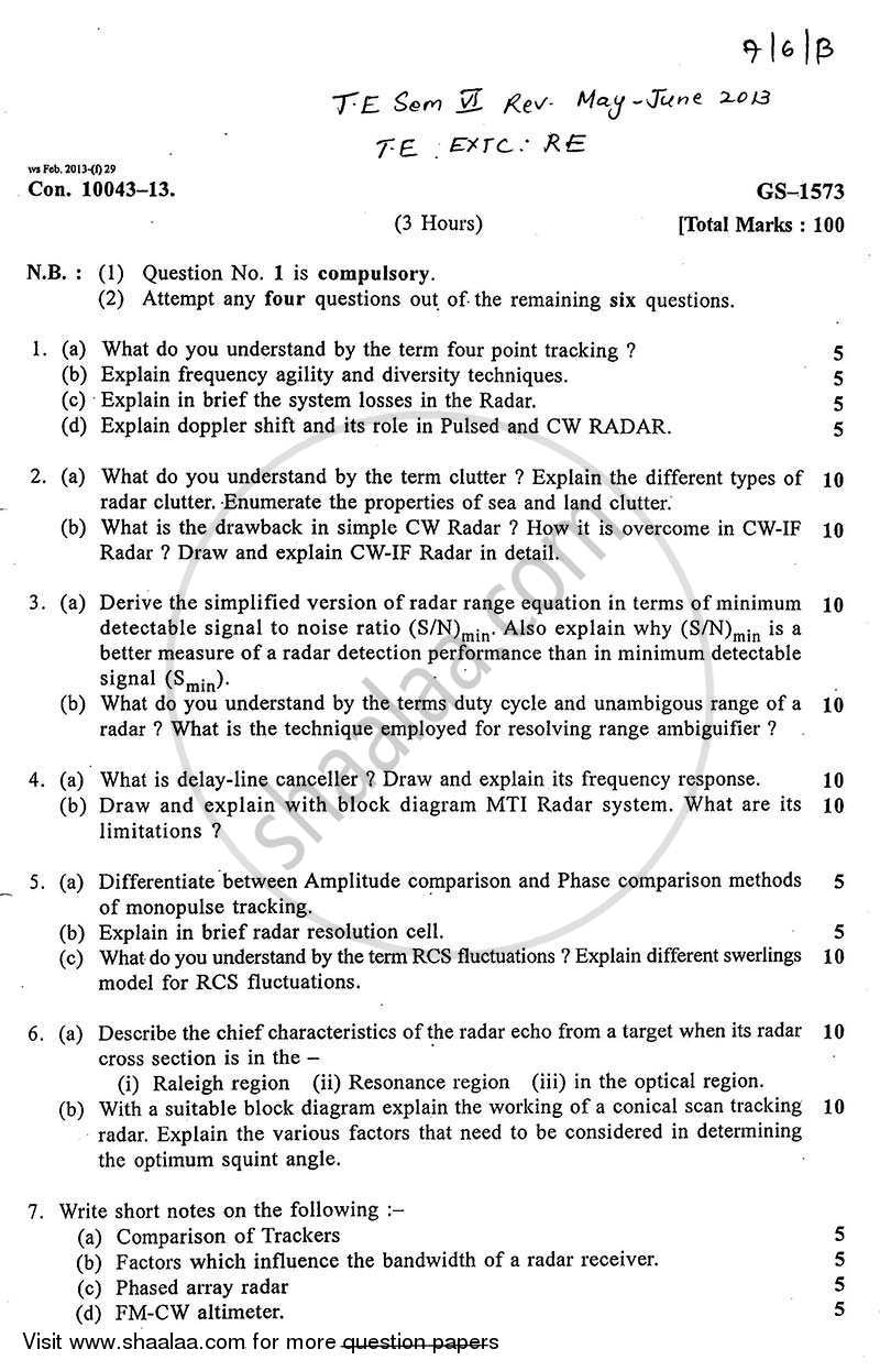 Radar Engineering 2012-2013 - B.E. - Semester 6 (TE Third Year) - University of Mumbai question paper with PDF download