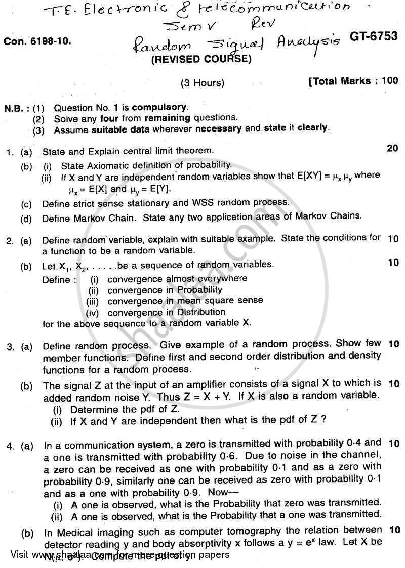 Random Signal Analysis 2010-2011 - B.E. - Semester 5 (TE Third Year) - University of Mumbai question paper with PDF download
