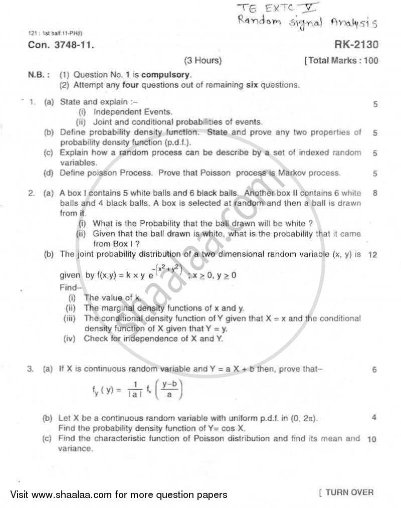 Question Paper - Random Signal Analysis 2010 - 2011 - B.E. - Semester 5 (TE Third Year) - University of Mumbai