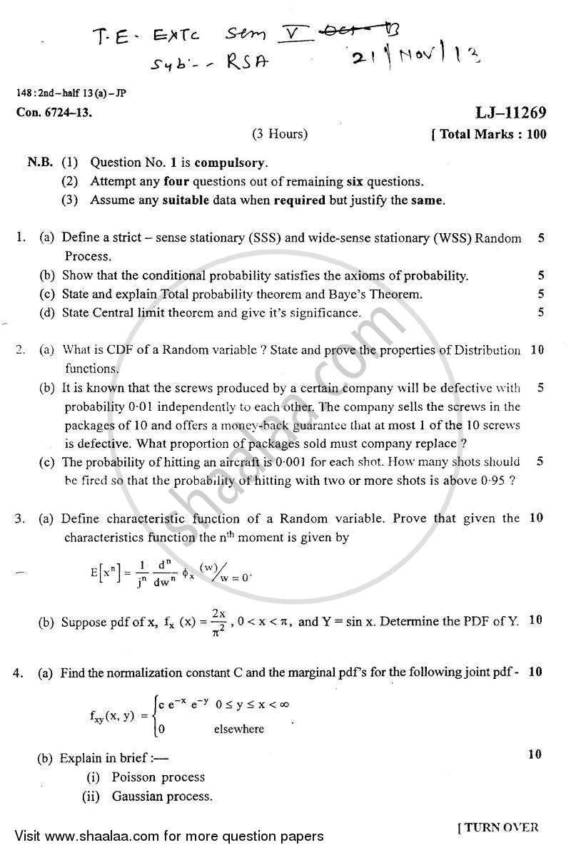 Question Paper - Random Signal Analysis 2013 - 2014 - B.E. - Semester 5 (TE Third Year) - University of Mumbai