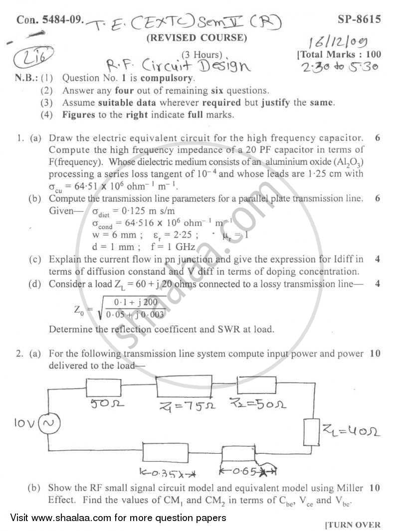 RF Circuit Design 2009-2010 - B.E. - Semester 5 (TE Third Year) - University of Mumbai question paper with PDF download