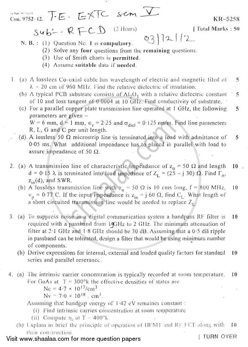 Question Paper - RF Circuit Design 2012 - 2013 - B.E. - Semester 5 (TE Third Year) - University of Mumbai