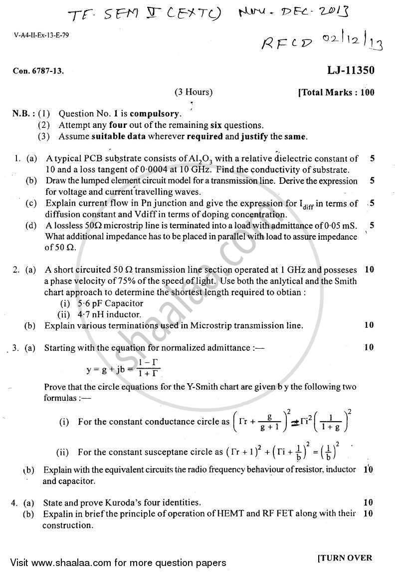 Question Paper - BE Electronics and Telecommunication Engineering