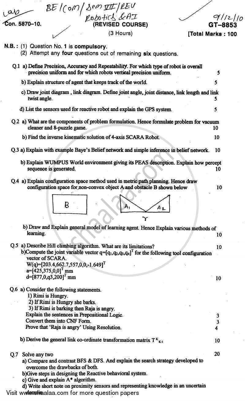 Question Paper - Robotics and Artificial Intelligence 2010 - 2011 - B.E. - Semester 7 (BE Fourth Year) - University of Mumbai