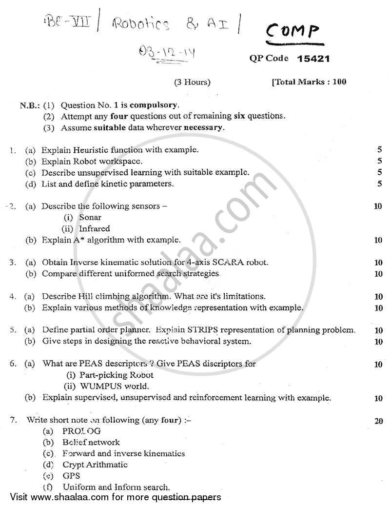 Question Paper - Robotics and Artificial Intelligence 2014 - 2015 - B.E. - Semester 7 (BE Fourth Year) - University of Mumbai