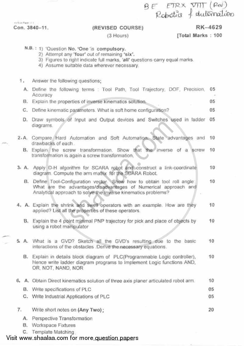 Question Paper - Robotics and Automation 2010 - 2011 - B.E. - Semester 8 (BE Fourth Year) - University of Mumbai