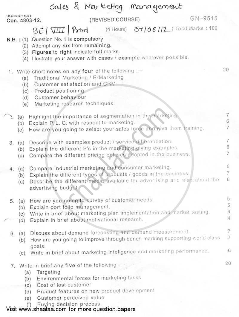 Question Paper - Sales and Marketing Management 2011 - 2012 - B.E. - Semester 8 (BE Fourth Year) - University of Mumbai