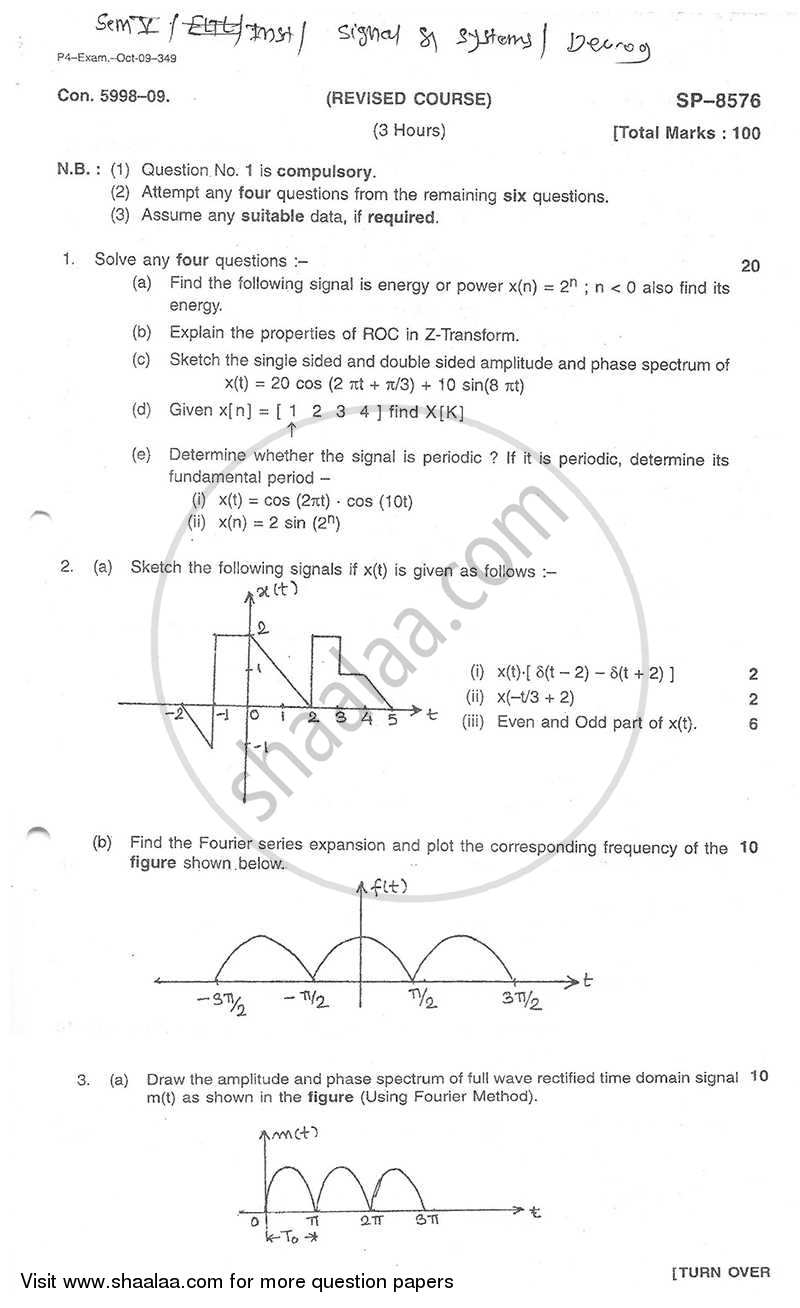 Question Paper - Signal and Systems 2009 - 2010 - B.E. - Semester 5 (TE Third Year) - University of Mumbai
