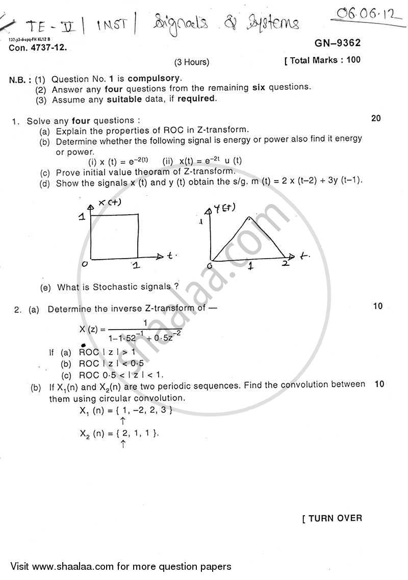 Question Paper - Signal and Systems 2011 - 2012 - B.E. - Semester 5 (TE Third Year) - University of Mumbai
