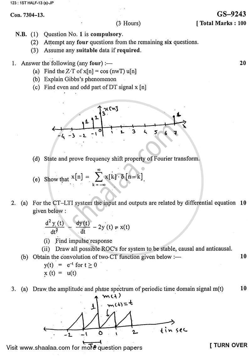 Question Paper - Signal and Systems 2012 - 2013 - B.E. - Semester 5 (TE Third Year) - University of Mumbai