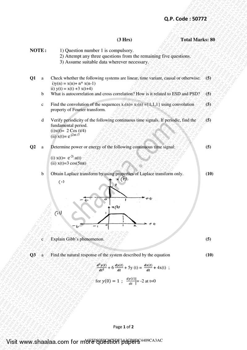 Question Paper - Signals and Systems 2017-2018 - B.E. - Semester 5 (TE Third Year) - University of Mumbai with PDF download