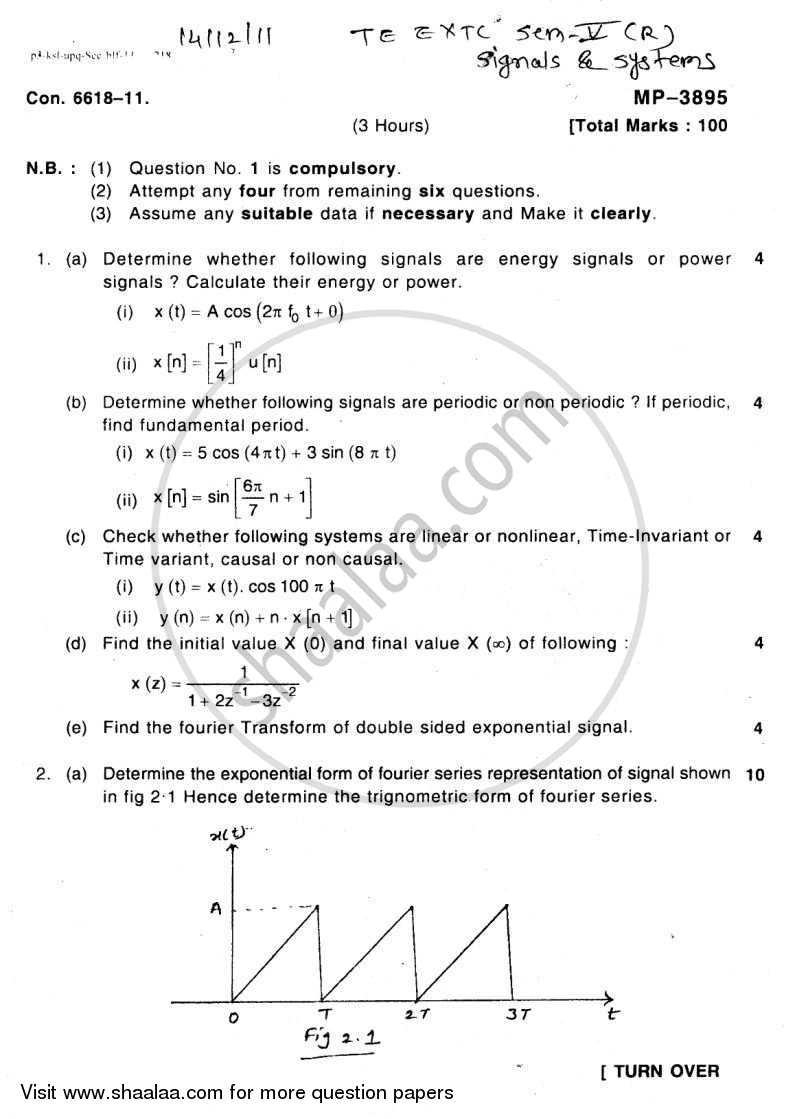 Question Paper - Signals and Systems 2011 - 2012 - B.E. - Semester 5 (TE Third Year) - University of Mumbai