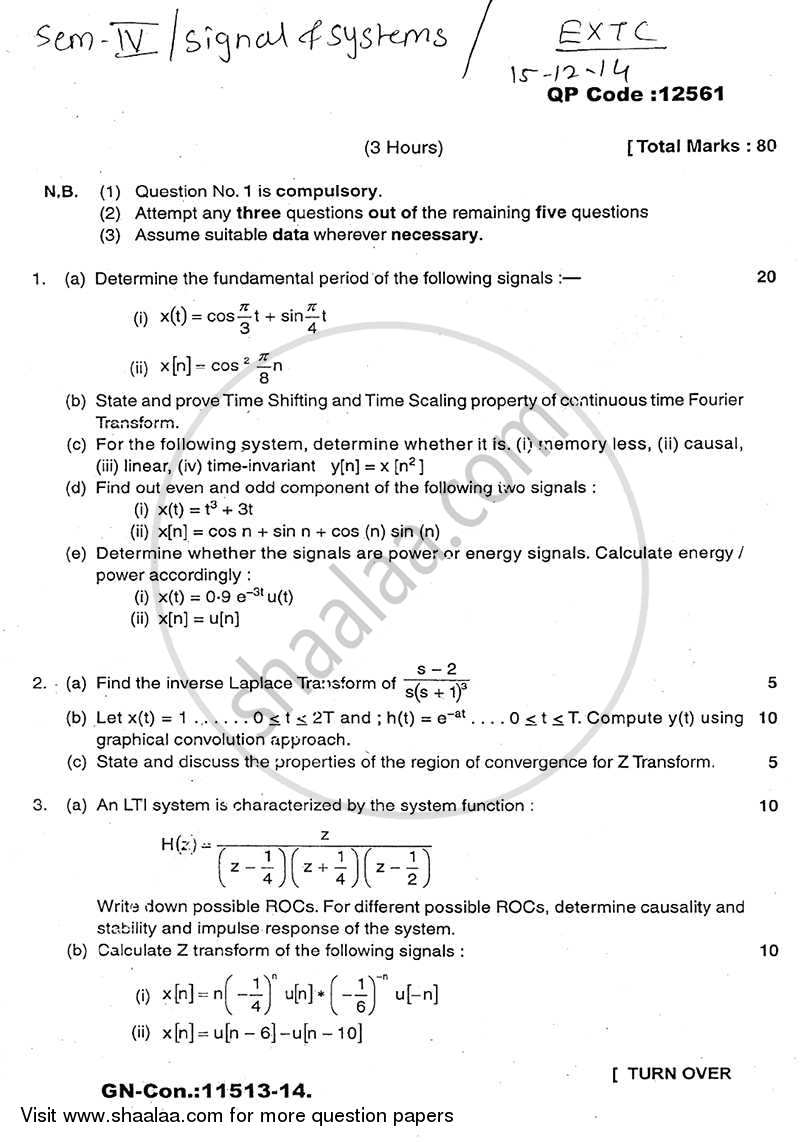 Question Paper - Signals and Systems 2014 - 2015 - B.E. - Semester 5 (TE Third Year) - University of Mumbai