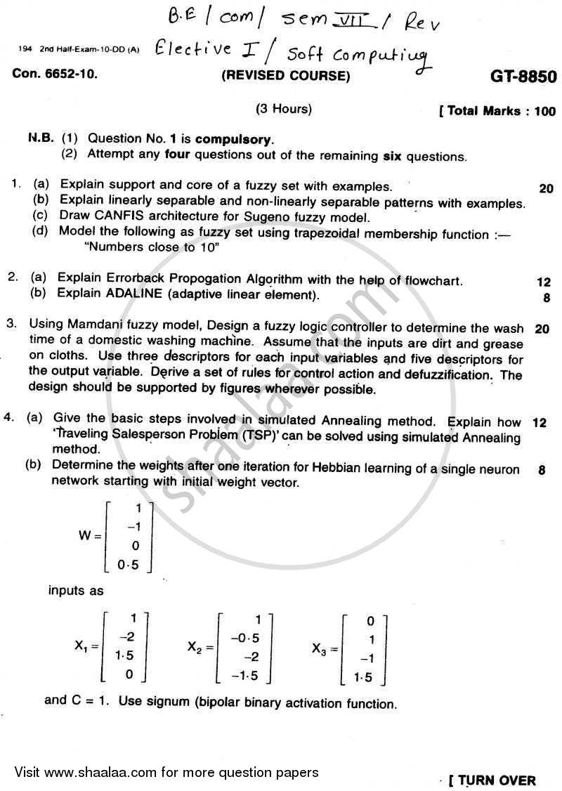 Question Paper - Soft Computing 2010 - 2011 - B.E. - Semester 7 (BE Fourth Year) - University of Mumbai