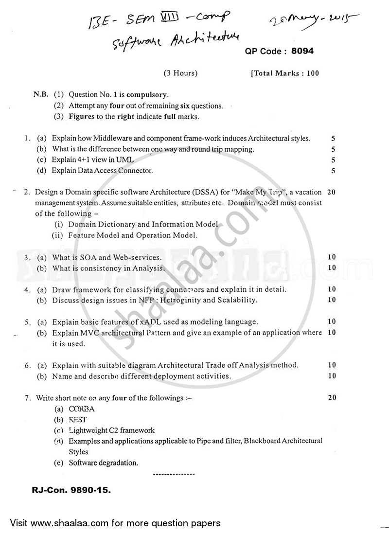 Software Architecture 2014 2015 Be Computer Engineering Semester 8 Be Fourth Year Old Question Paper With Pdf Download Shaalaa Com