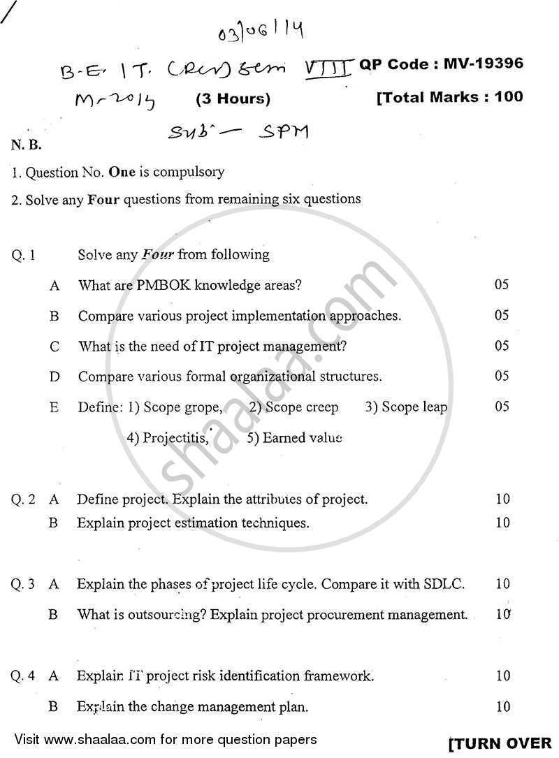 Question Paper - Software Project Management 2013 - 2014 - B.E. - Semester 8 (BE Fourth Year) - University of Mumbai