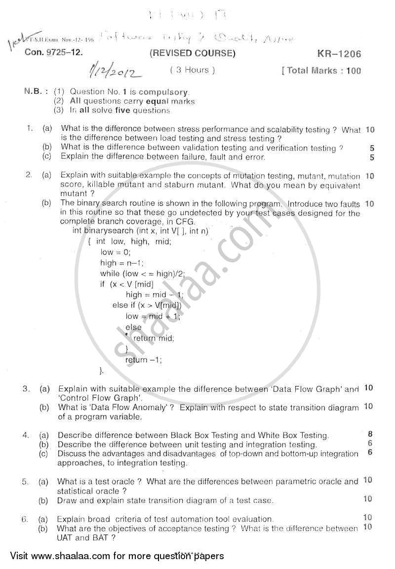 Question Paper - Software Testing and Quality Assurance 2012 - 2013-B.E.-Semester 7 (BE Fourth Year) University of Mumbai