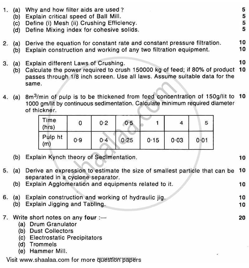 Question Paper - Solid Fluid Mechanical Operations 2010 - 2011 - B.E. - Semester 4 (SE Second Year) - University of Mumbai