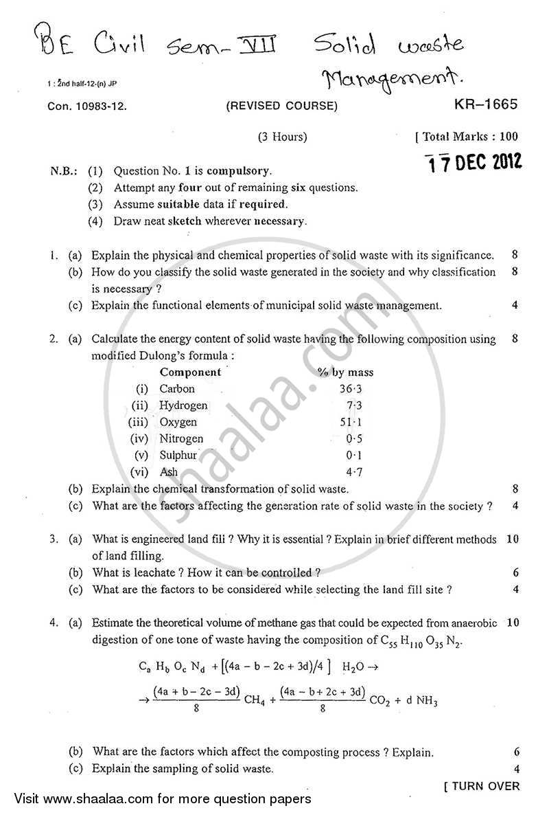 Solid Waste Management 2012-2013 - B.E. - Semester 7 (BE Fourth Year) - University of Mumbai question paper with PDF download