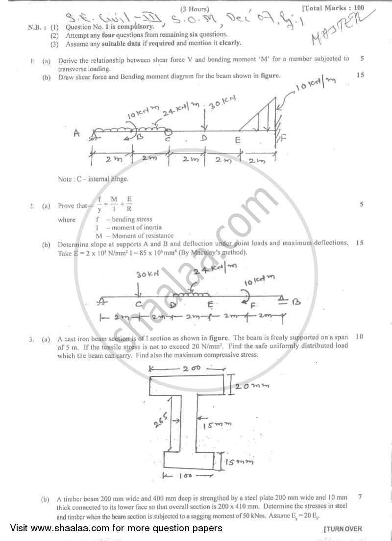 Question Paper - Strength of Materials 2007 - 2008 - B.E. - Semester 3 (SE Second Year) - University of Mumbai