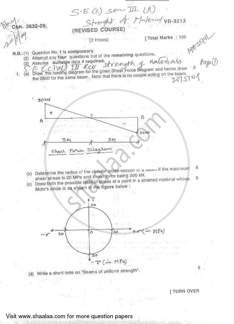 Question Paper - Strength of Materials 2008 - 2009 - B.E. - Semester 3 (SE Second Year) - University of Mumbai