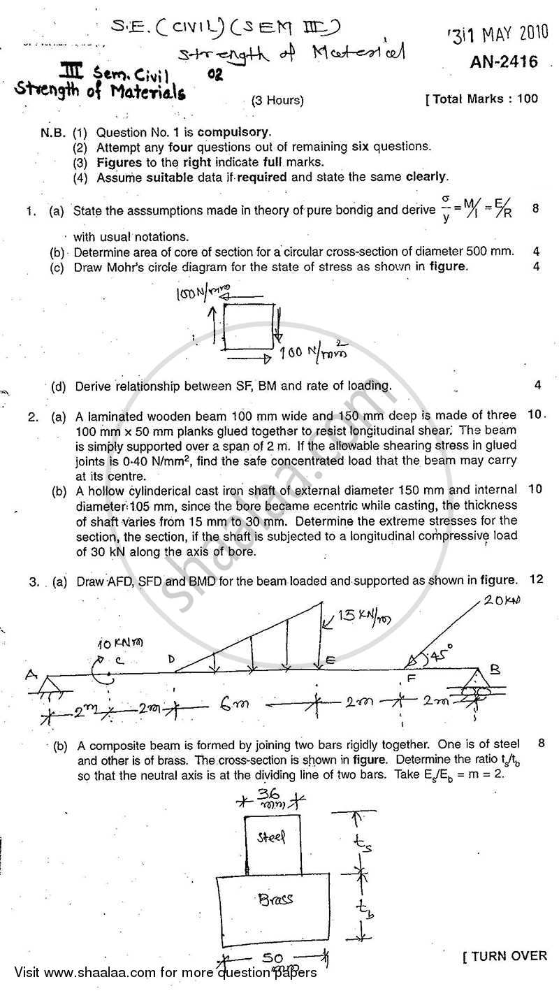 Question Paper - Strength of Materials 2009 - 2010 - B.E. - Semester 3 (SE Second Year) - University of Mumbai