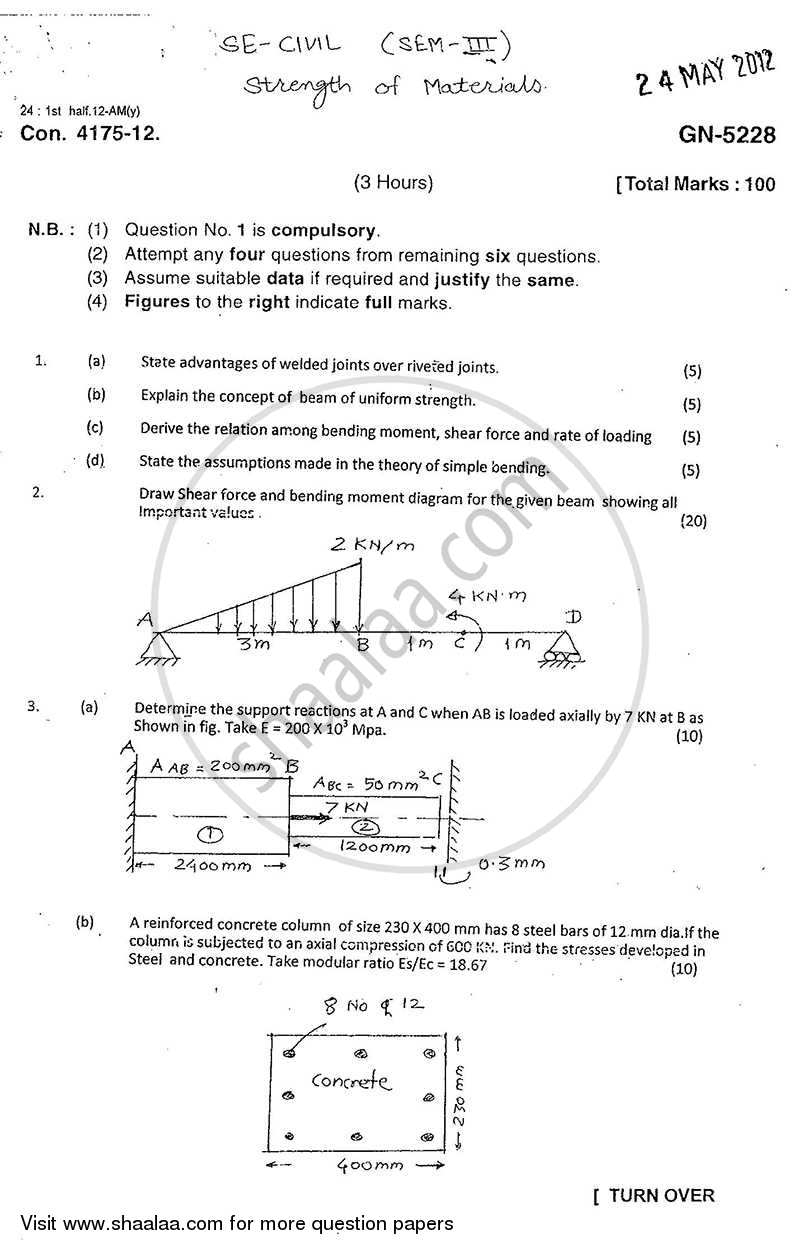 Question Paper - Strength of Materials 2011 - 2012 - B.E. - Semester 3 (SE Second Year) - University of Mumbai