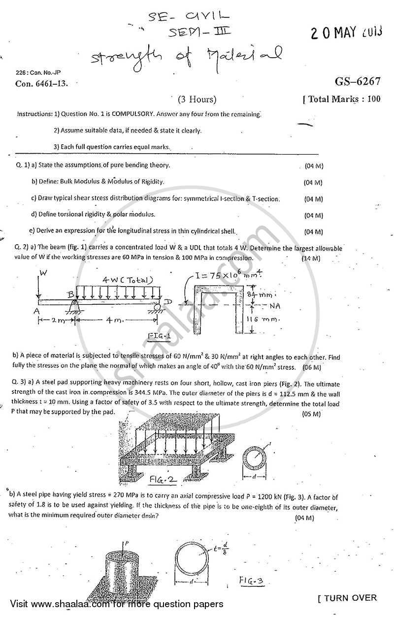 Question Paper - Strength of Materials 2012 - 2013 - B.E. - Semester 3 (SE Second Year) - University of Mumbai