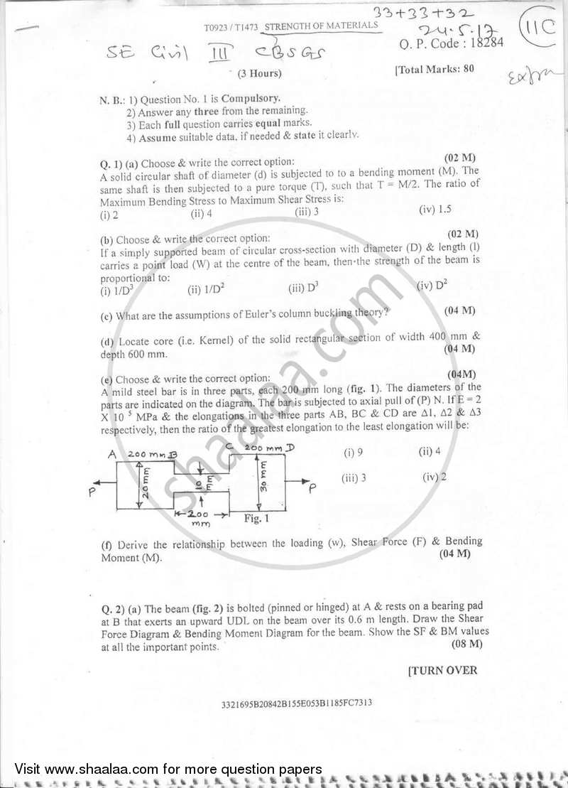 Strength of Materials 2016-2017 - B.E. - Semester 3 (SE Second Year) - University of Mumbai question paper with PDF download