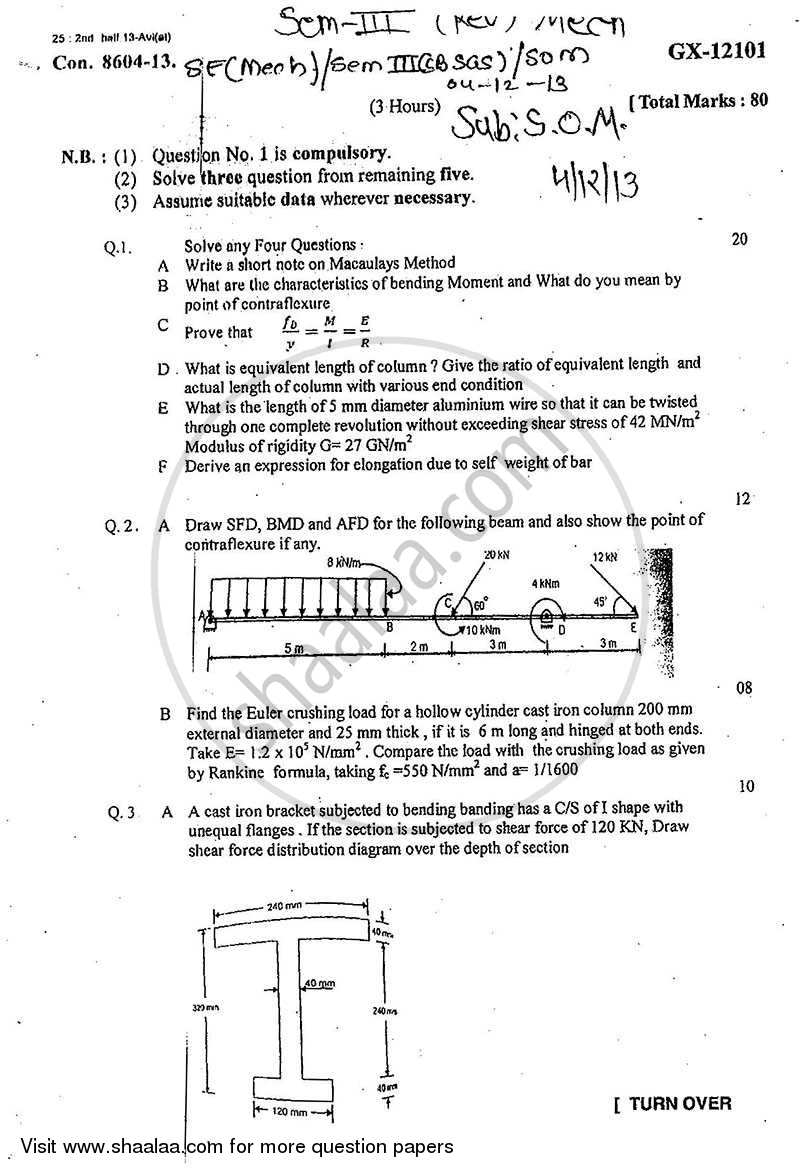 Question Paper - Strength of Materials 2013 - 2014 - B.E. - Semester 3 (SE Second Year) - University of Mumbai