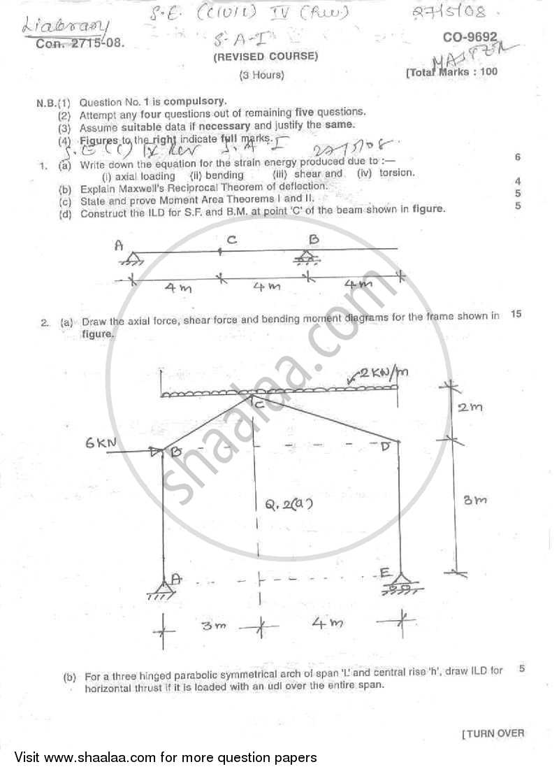 Question Paper - Structural Analysis 1 2007 - 2008 - B.E. - Semester 4 (SE Second Year) - University of Mumbai